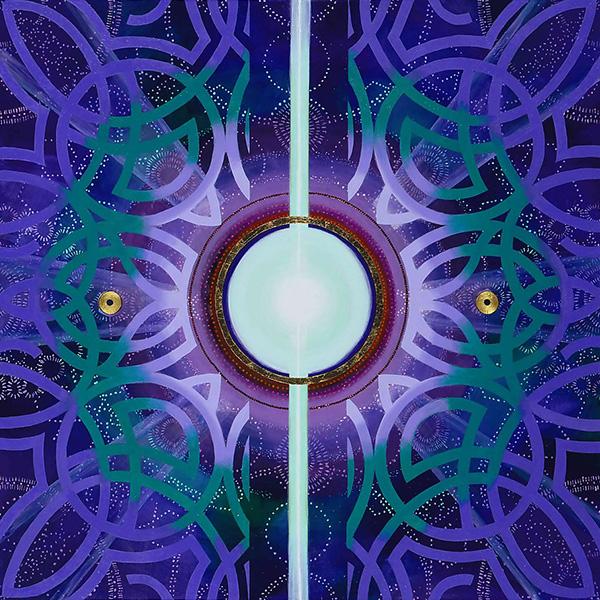 S005 Conscious Brightness Blue 36x36 Acrylic, gold leaf, 8,000